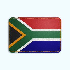 National flag of South Africa with denim texture and orange seam. Realistic image of a tissue made in vector illustration.