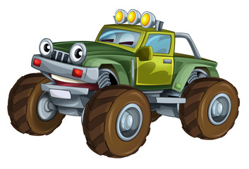 cartoon happy and funny off road vehicle