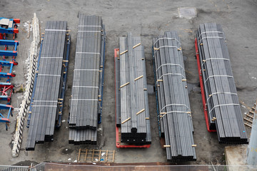 Steel rods on a dock ready for loading