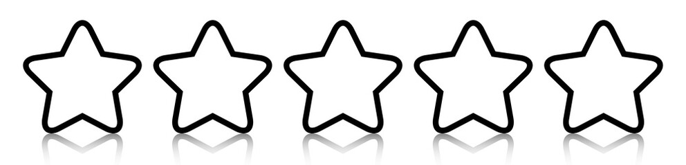 Black-and-white five star line icon rating with reflection isolated on white background. Vector illustration. EPS10