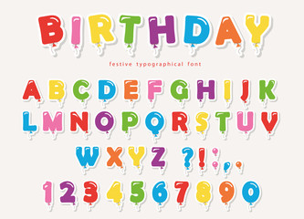 Balloon colorful font paper cutout. Funny ABC letters and numbers. For birthday party, baby shower.
