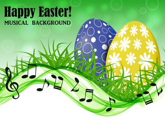 Abstract spring background with yellow and blue Easter eggs