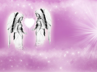 Wall Mural - angel and archangel with white heart and rays of Light over a pink background with copy space