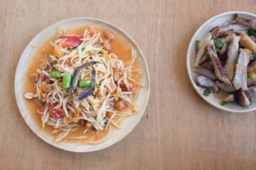 Papaya salad or som-tam Thai local food