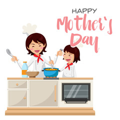 Isolated Cute Happy Mother's Day Mom And Daughter Baking Activities Illustration, Suitable For Social Media, Print, Web Banners, Decoration, Invitation and Other Mother's Day Related Activities