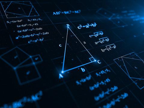 pythagorean theorem. 3d illustration