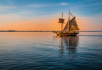 Tall ship at sunset