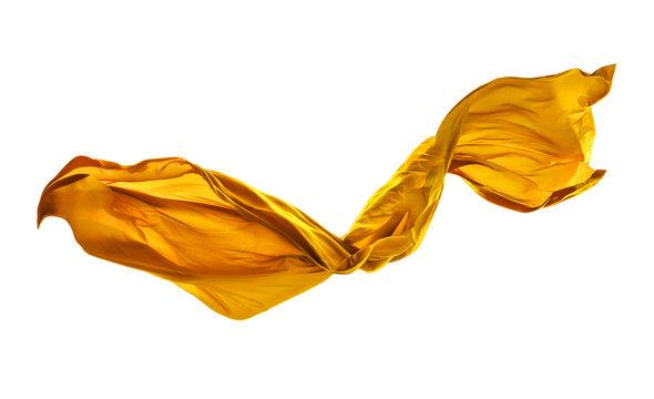 Smooth elegant yellow cloth on white background