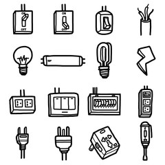 electrical objects, icons set / cartoon vector and illustration, hand drawn style, black and white, isolated on white background.