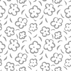 Summer seamless pattern with leaves and flowers in sketchy style.