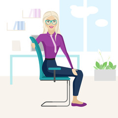 Pretty blonde woman is doing exercise on the office chair.