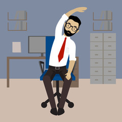 Man in business clothes is doing exercises for back on the office chair.