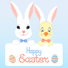 White bunny with a blue bow and a chick with rabbit ears holding a greeting card with a calligraphic inscription Happy Easter
