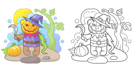 Cartoon teddy bear Jack lantern