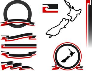 Aotearoa Banner Set. Vector graphic banners representing Aotearoa, the Maori name for New Zealand.