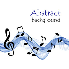 Abstract background with blue waves and  music notes