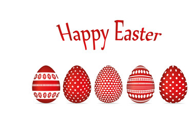 Easter red eggs with a pattern. Greeting card for the holiday. Free space for text