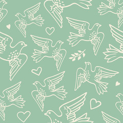 Seamless pattern with hand drawn flying birds and hearts