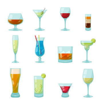 bar glasses with drinks and coctails inside