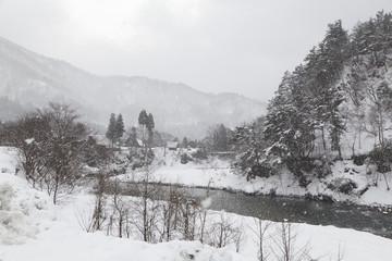 Shogawa River Valley in the remote mountains at Shirakawa