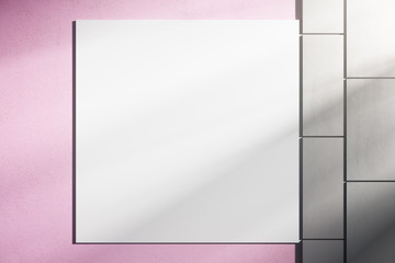 Pink wall with white poster