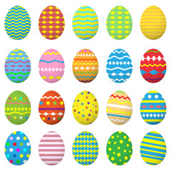 Easter eggs icons set. Collection eggs. Isolated on white background. Vector illustration.