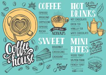 Coffee menu restaurant, food template.