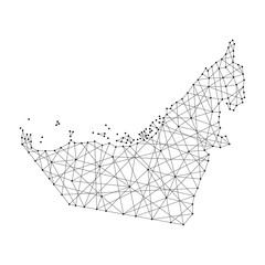 Map of  United Arab Emirates from polygonal black lines and dots of vector illustration