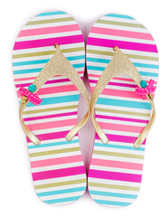 Summer striped flip flops