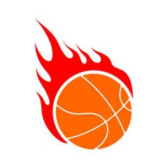 Fire basketball. Flame ball. Emblem game sport team