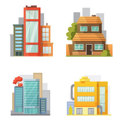 Flat design of retro and modern city houses. Old buildings, skyscrapers. colorful cottage building, cafe house front.