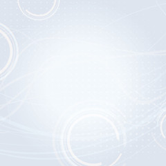 Light background with circles and thin wavy strips. Vector pattern