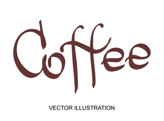 Vector lettering hand written coffee text. Calligraphy design font for poster or banner with illustration of on the white background