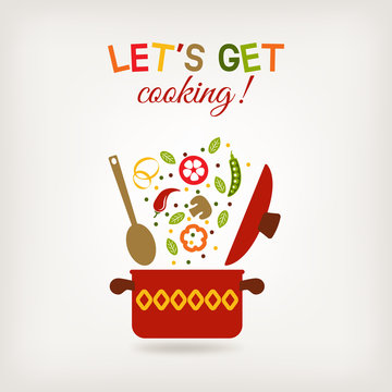 vegetarian menu or recipe book design. pot with vegetables