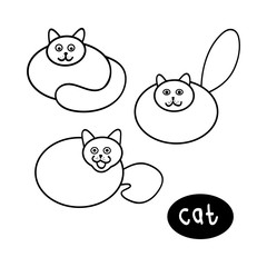 Round ivory, set of vector illustrations on white background. Abstract image of the cat lines.