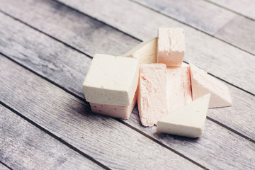 marshmallows on a wooden table