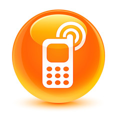 Cellphone ringing icon glassy orange round button