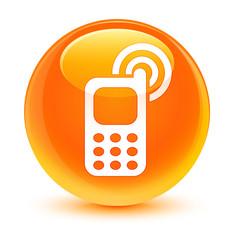 Cellphone ringing icon glassy orange round button