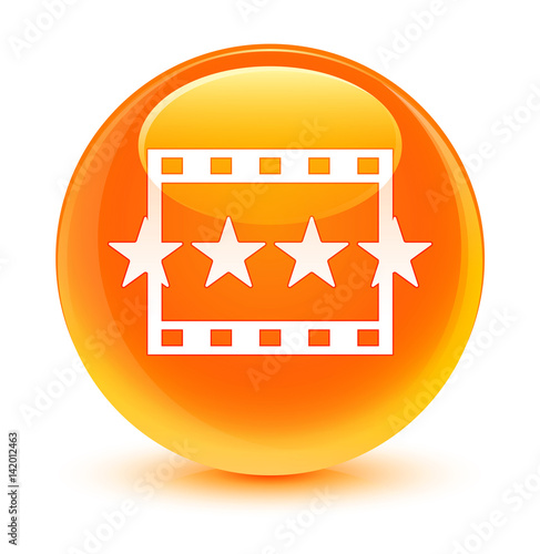 quotmovie reviews icon glassy orange round buttonquot stock