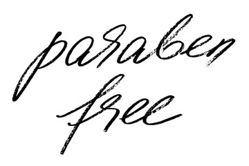 Paraben free. Handwritten black text isolated on white background, vector. Each word is on the separate layer.