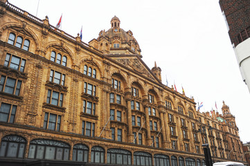 Harrods building in Knightsbridge. London, United Kingdom