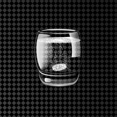 Effervescent pills in a glass of water. Vector illustration.
