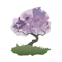 Vector silhouette of bonsai tree.