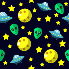 Seamless pattern with space, comet, stars, moon and UFO