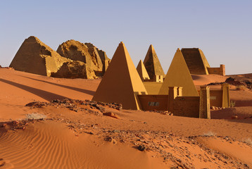 The Pyramids of Meroe of  the northern cemetery in Sudan