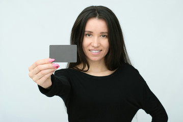 happy smiling woman with black blank board