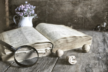 old scratched effect on photo magnifying glass and old book