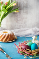 Colorful homemade painted easter eggs