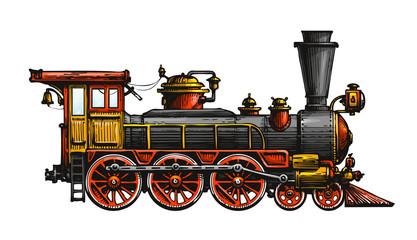 Vintage steam locomotive. Drawn ancient train, transport. Vector illustration