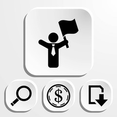 man with flag in hand icon stock vector illustration flat design